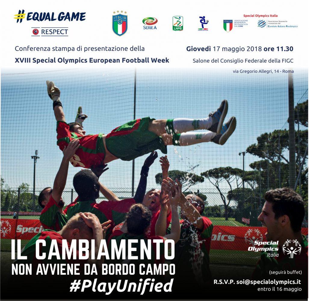 Il calcio d'inizio della XVIII Special Olympics European Football Week in FIGC con il Commissario Roberto Fabbricini