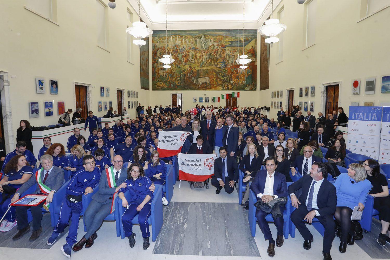 Una festa Azzurra dello sport al CONI con Malagò, Pancalli, Moratti e Bonolis