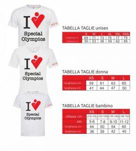 Taglie Maglietta Smart Games - Special Olympics Italia